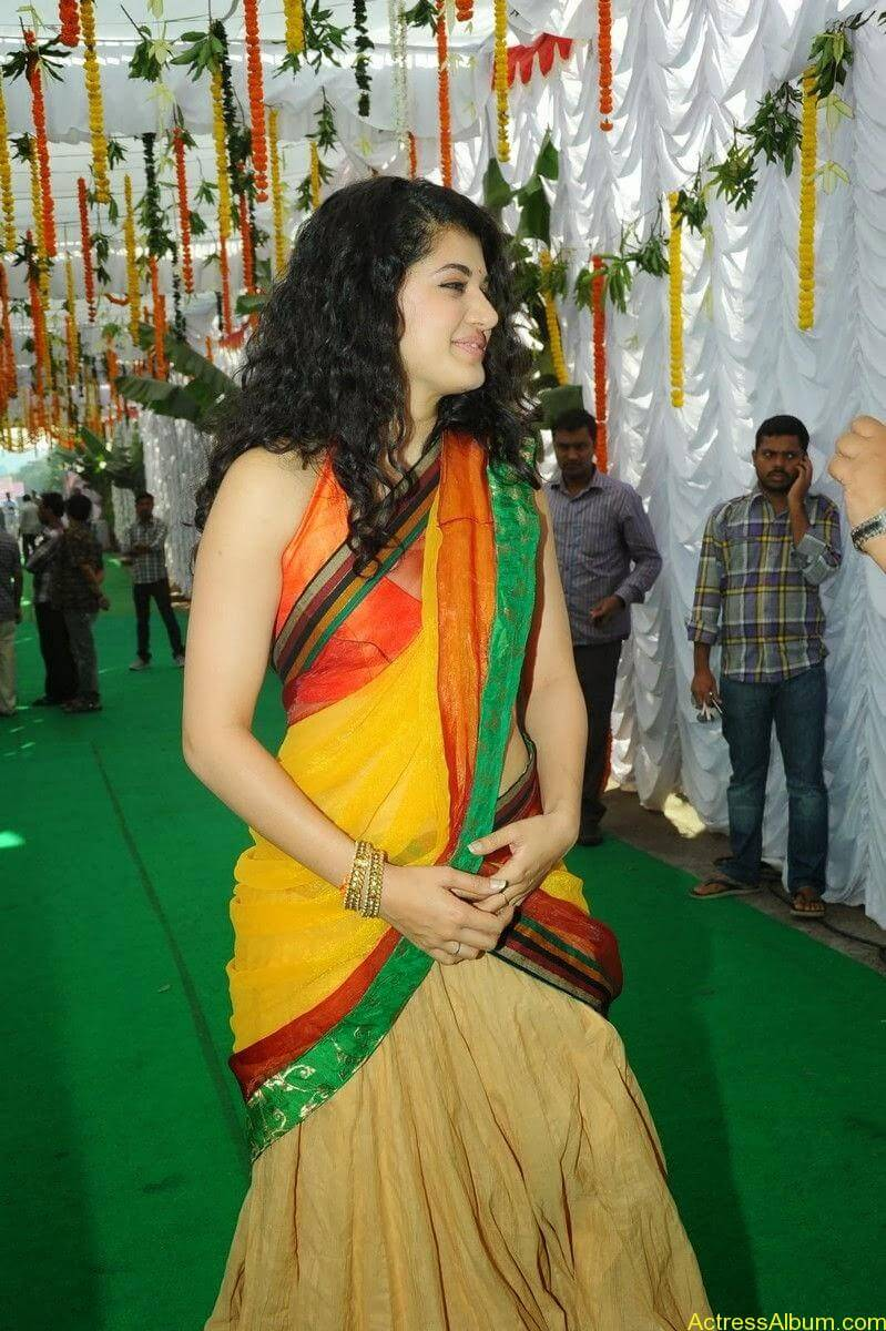 Actress Tapsee Half Saree Photos at Muni 3 Movie Launch 2