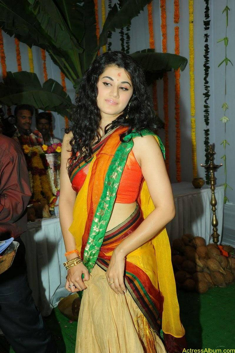 Actress Tapsee Half Saree Photos at Muni 3 Movie Launch 7