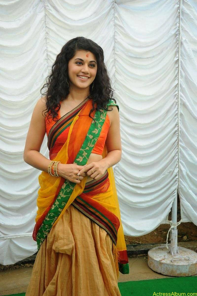 Actress Tapsee Half Saree Photos at Muni 3 Movie Launch 8