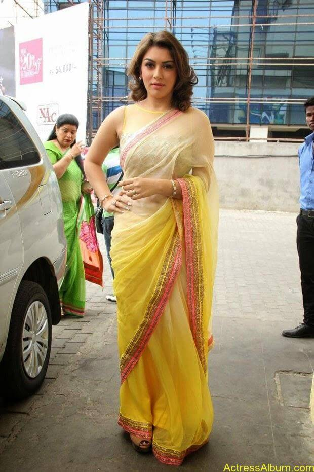 Hansika in Hot Transparent Saree Sexy Pics1