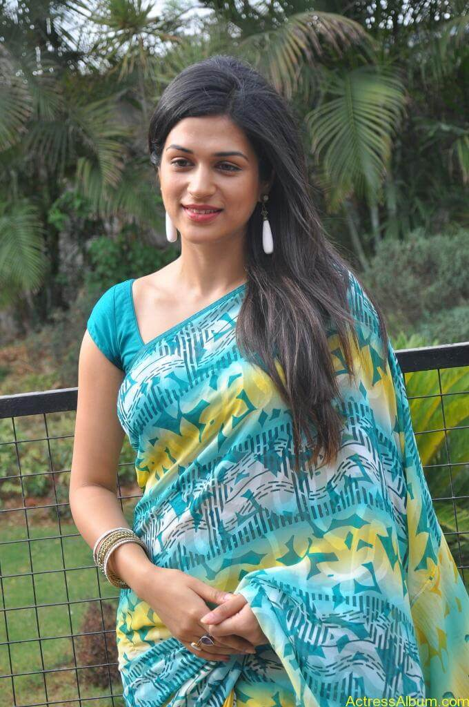 Shraddha Das in blue saree Photos3