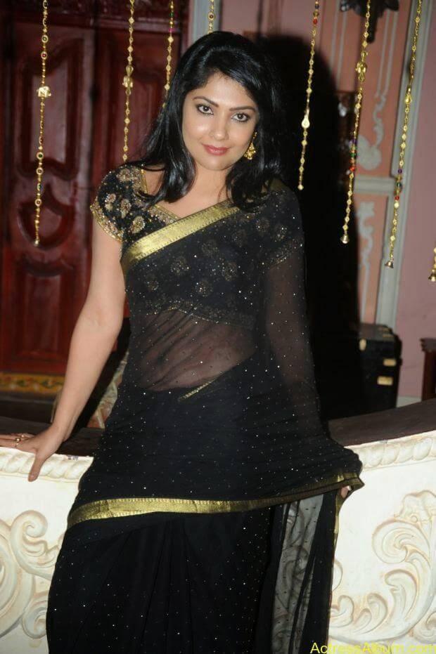 Telugu Actress Kamilini Mukarjee hot in black transparent saree (3)