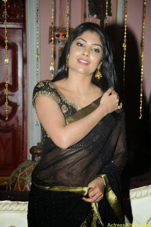 Telugu Actress Kamilini Mukarjee hot in black transparent saree (5)