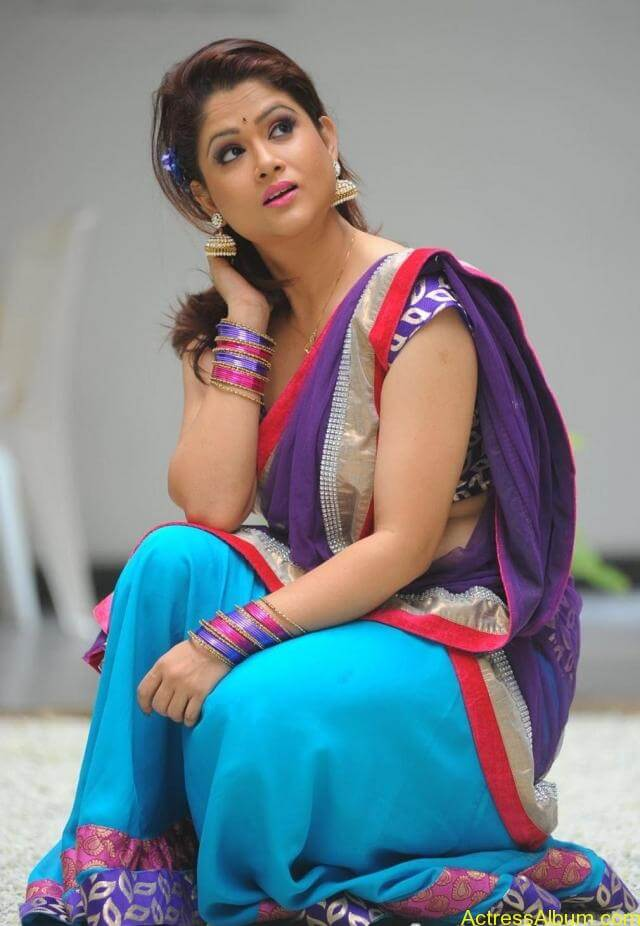 tv anchor shilpa chakravarthy hot stills in saree (5)