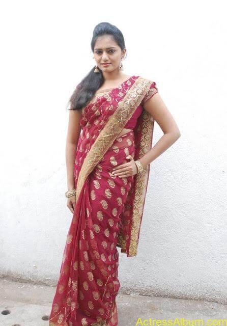 vijay tv actress aishwarya hot stills in saree (11)