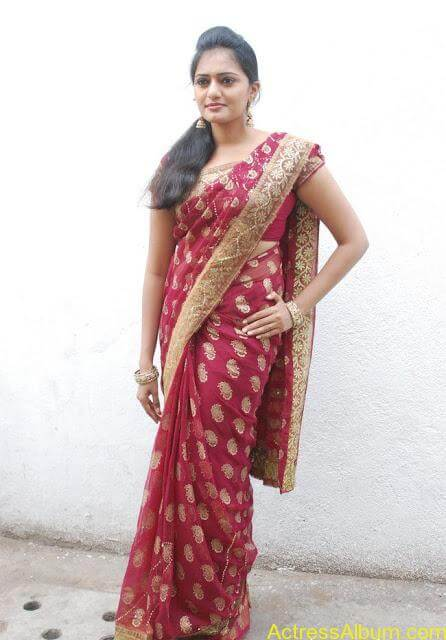 vijay tv actress aishwarya hot stills in saree (12)