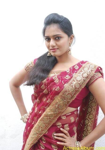 vijay tv actress aishwarya hot stills in saree (6)