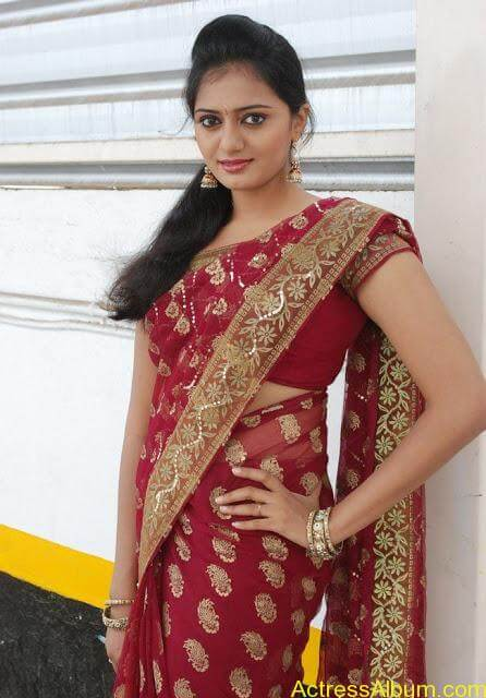 vijay tv actress aishwarya hot stills in saree (9)