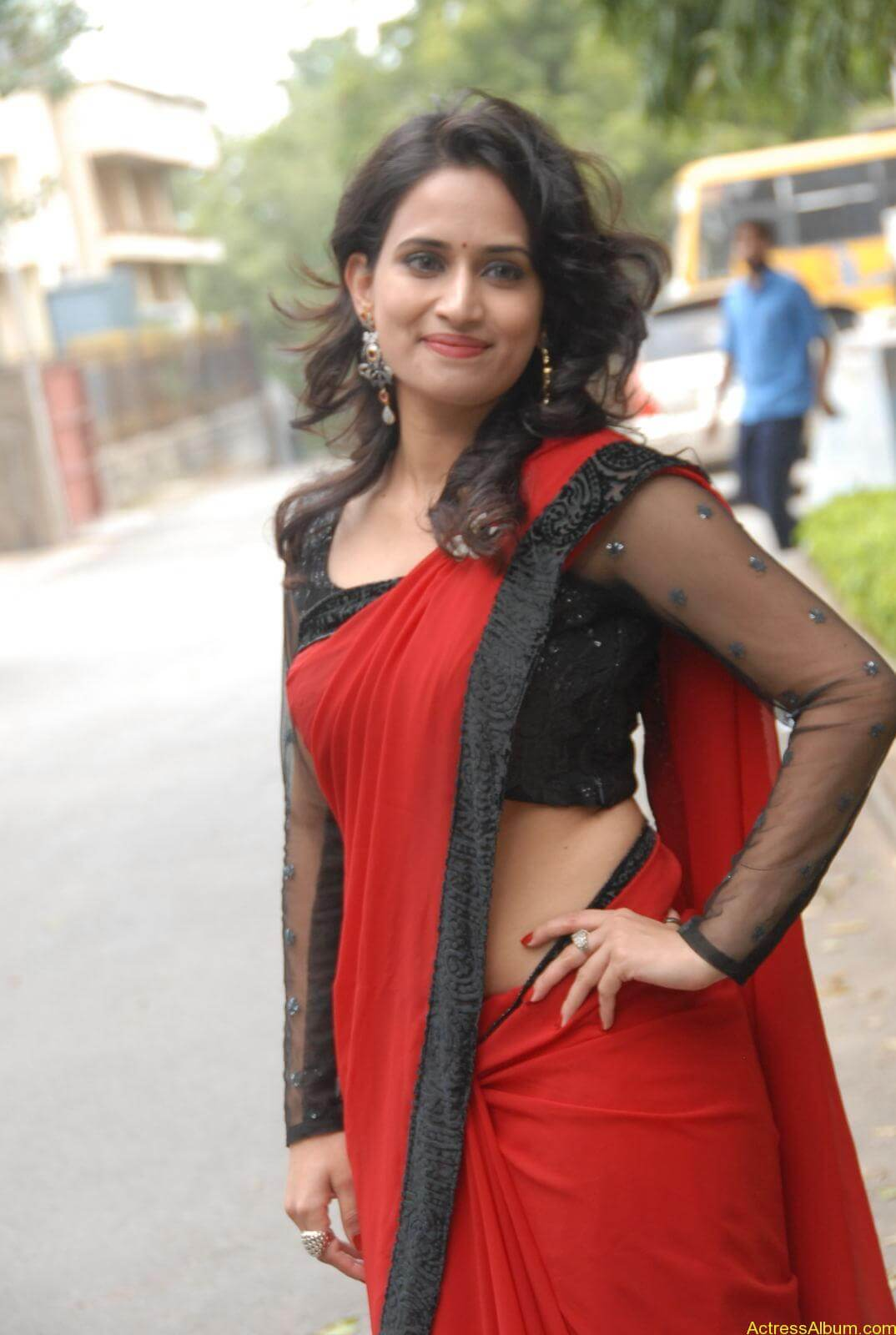 Chinmayi Ghatrazu Hot stills in Red colour Saree (6)