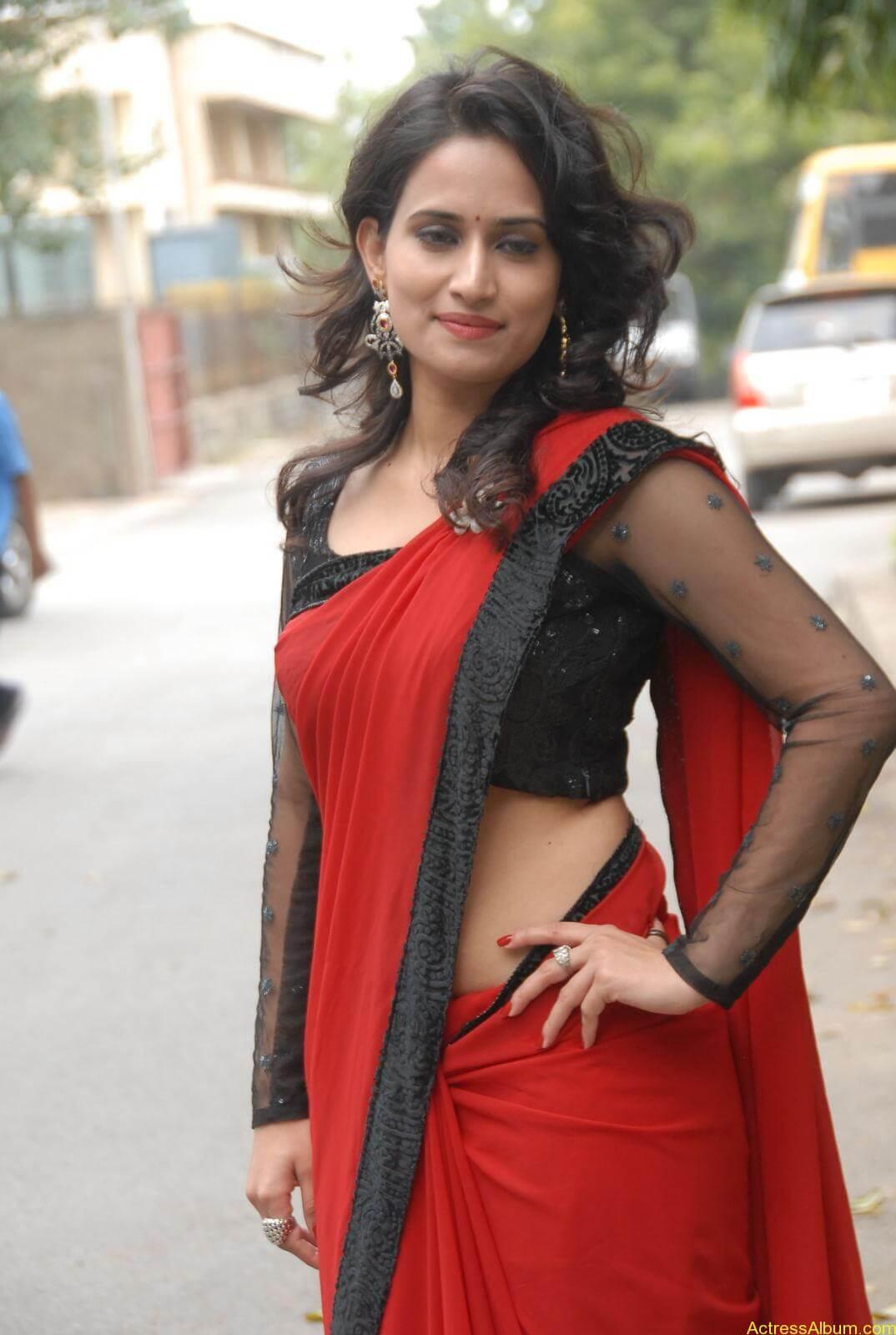 Chinmayi Ghatrazu Hot stills in Red colour Saree (7)