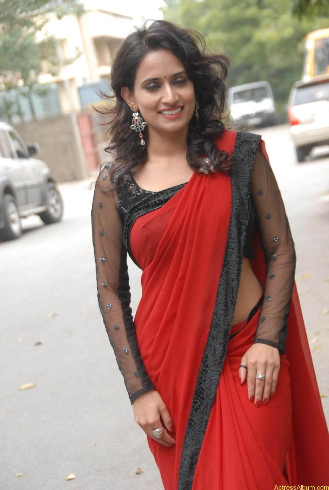 Chinmayi Ghatrazu Hot stills in Red colour Saree (9)