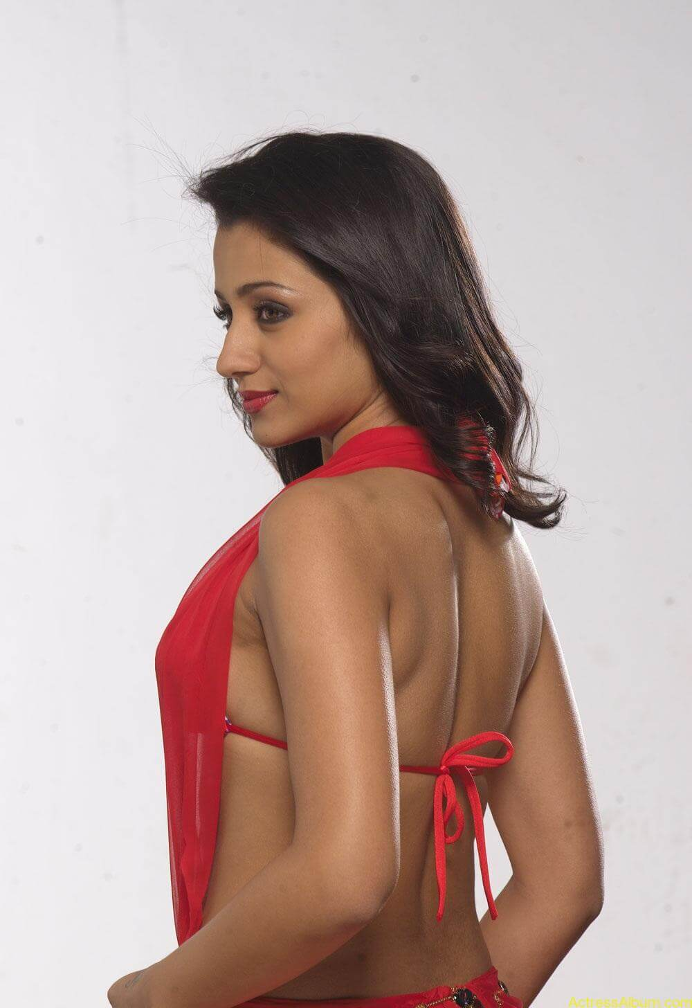 Trisha very hot Stills in Red Saree (4)