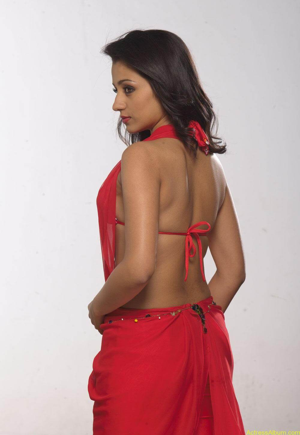Trisha very hot Stills in Red Saree (8)