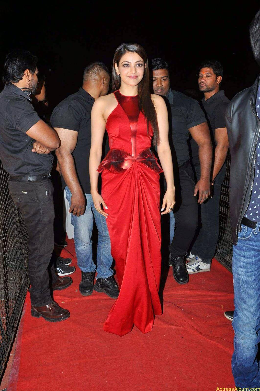 Actress Kajal Agarwal Latest Cute Hot Red Dress Spicy Photos Gallery At Temper Movie Audio Launch (2)