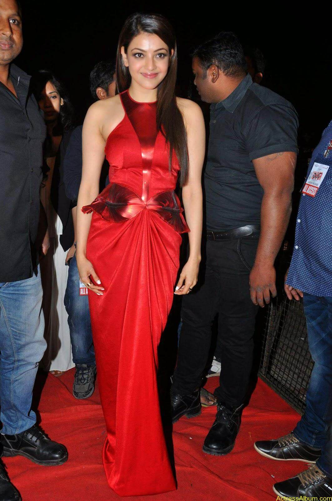 Actress Kajal Agarwal Latest Cute Hot Red Dress Spicy Photos Gallery At Temper Movie Audio Launch (3)