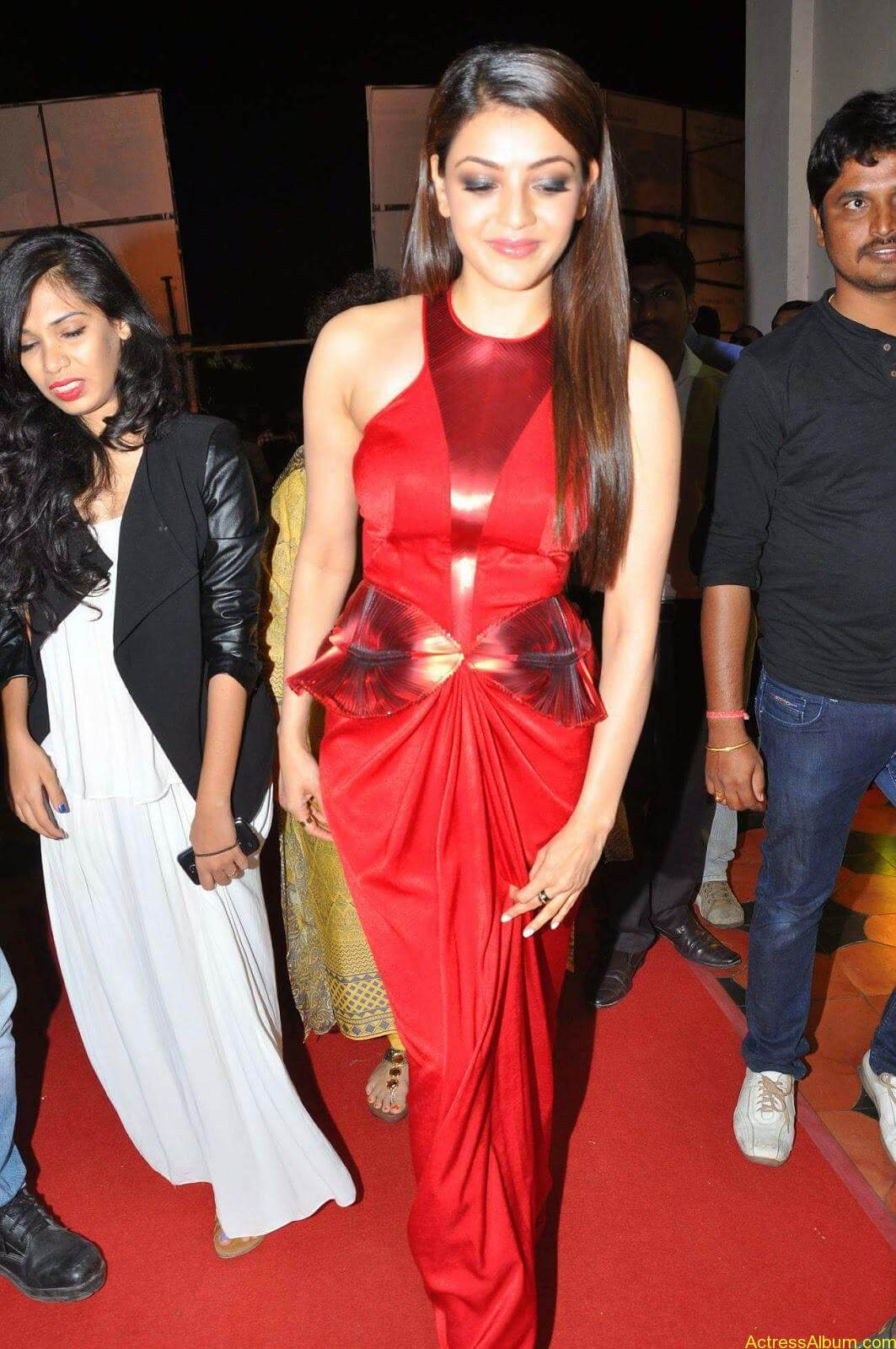 Actress Kajal Agarwal Latest Cute Hot Red Dress Spicy Photos Gallery At Temper Movie Audio Launch (5)