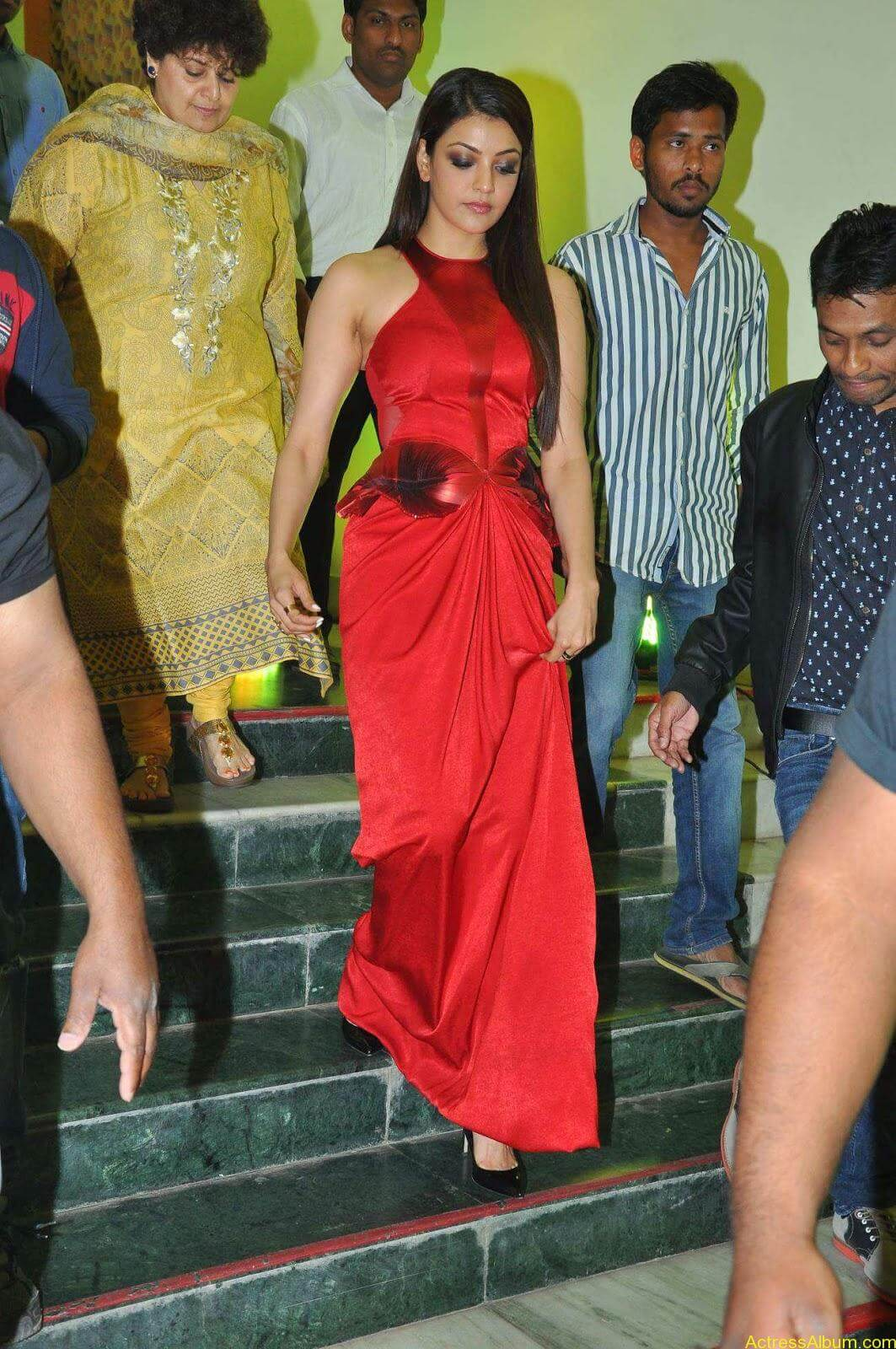 Actress Kajal Agarwal Latest Cute Hot Red Dress Spicy Photos Gallery At Temper Movie Audio Launch (6)