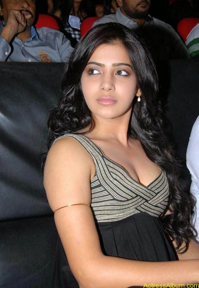 Samantha Latest Hot Cleavage Show Pics In Black Dress Photos