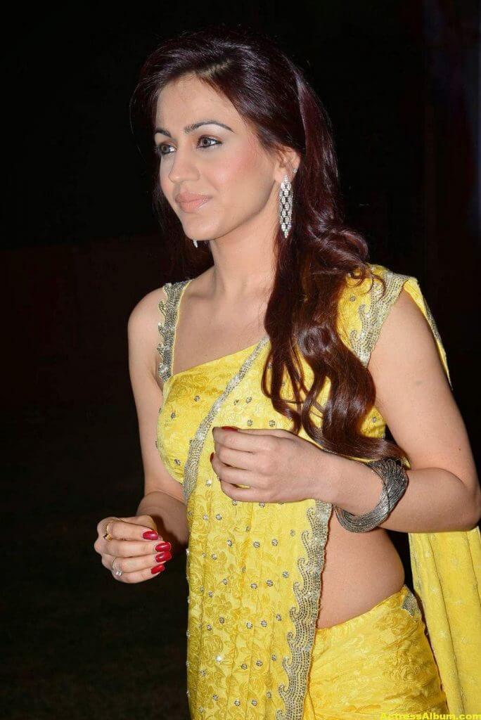 Actress Aksha Pardasany Latest Cute Hot Yellow Saree Navel Show 2