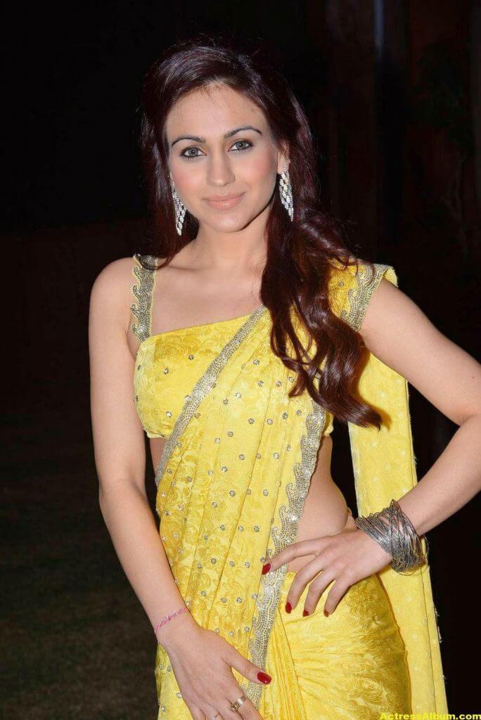 Actress Aksha Pardasany Latest Cute Hot Yellow Saree Navel Show 3