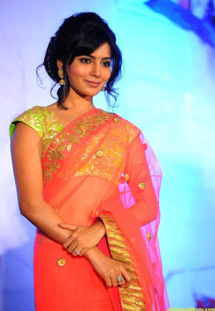 Heroine Samantha Photos In Transparent Saree