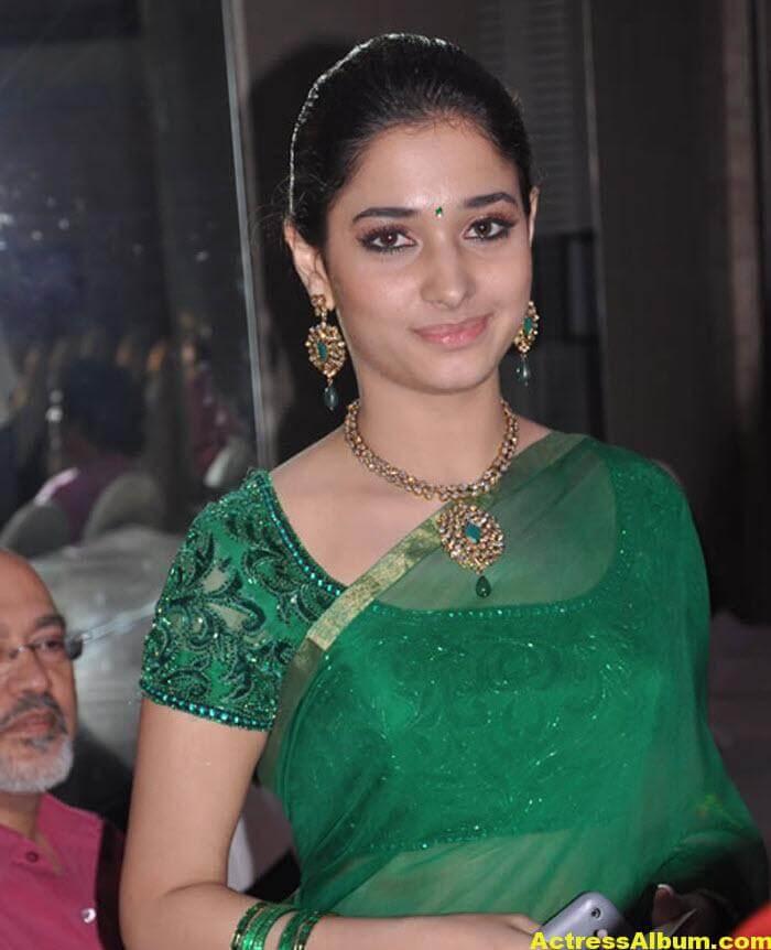 Hot Tamanna in Green Saree 1