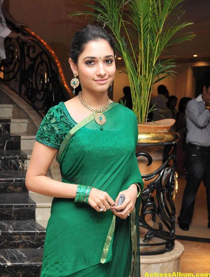 Hot Tamanna in Green Saree 2