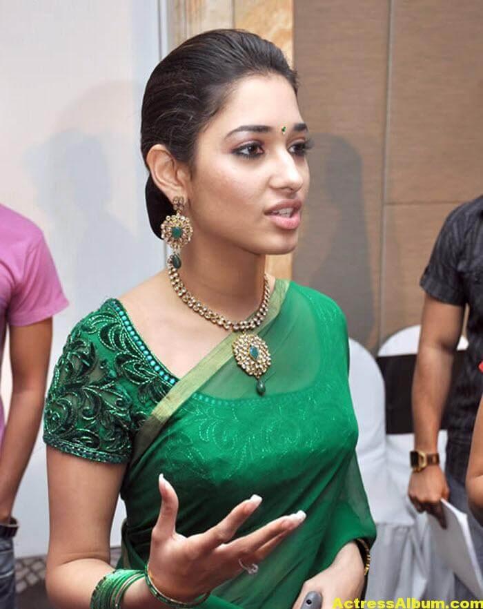 Hot Tamanna in Green Saree 3