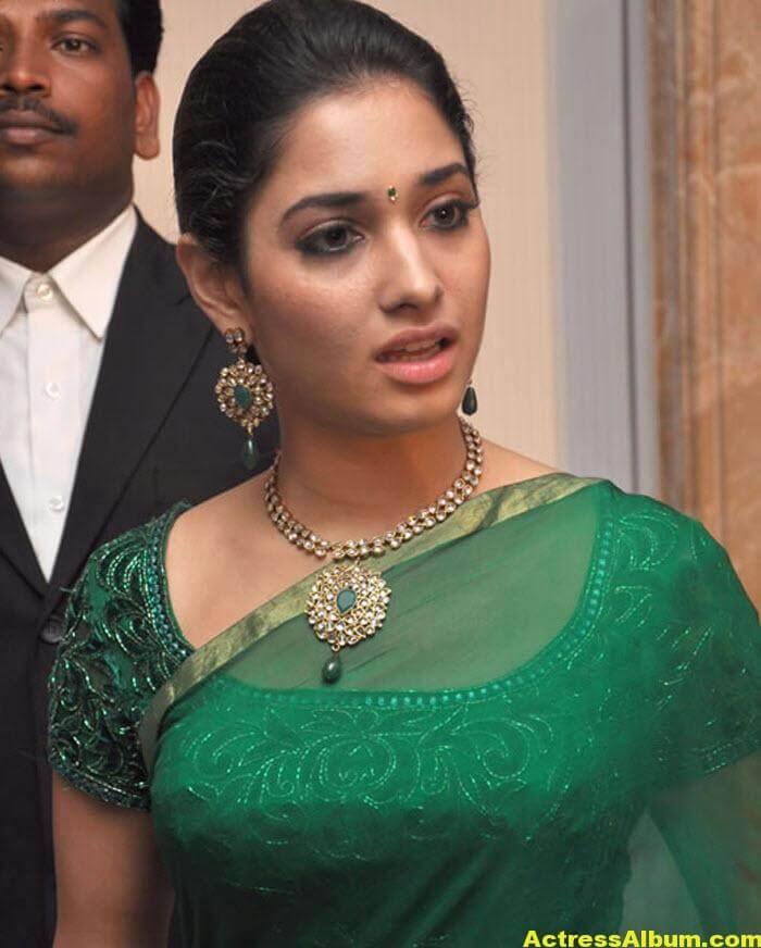 Hot Tamanna in Green Saree 4