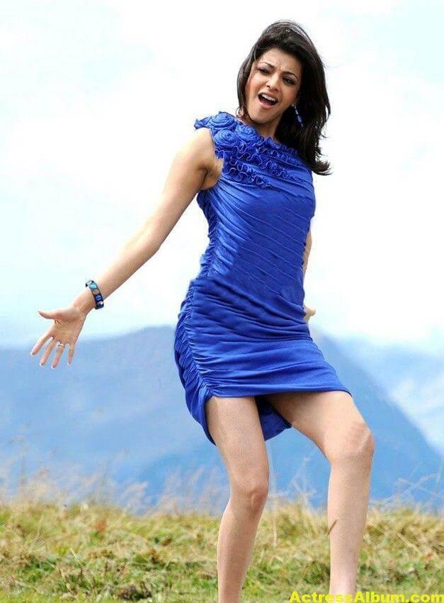 Kajal Agarwal  blue short gown thunder thighs 1