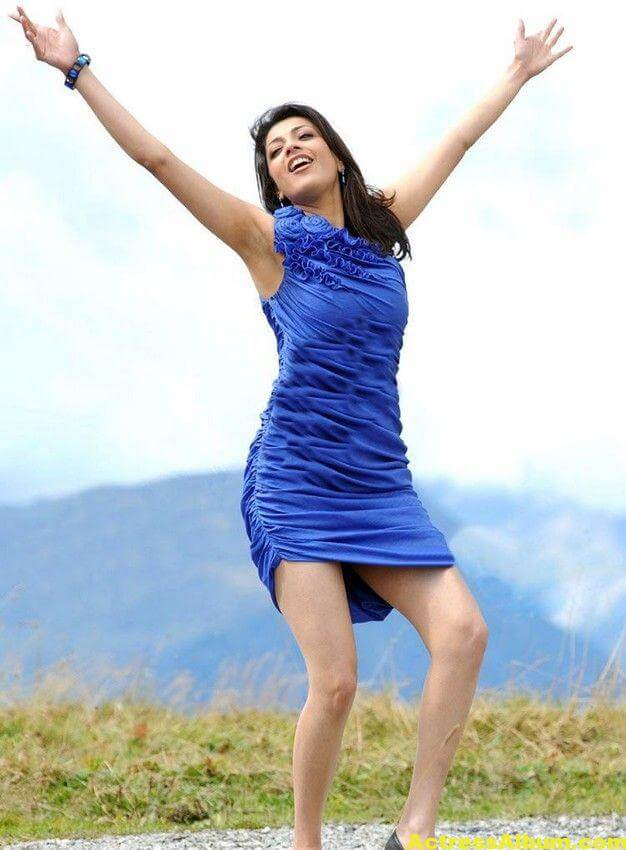 Kajal Agarwal  blue short gown thunder thighs 2