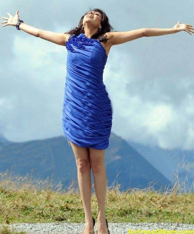 Kajal Agarwal  blue short gown thunder thighs 4
