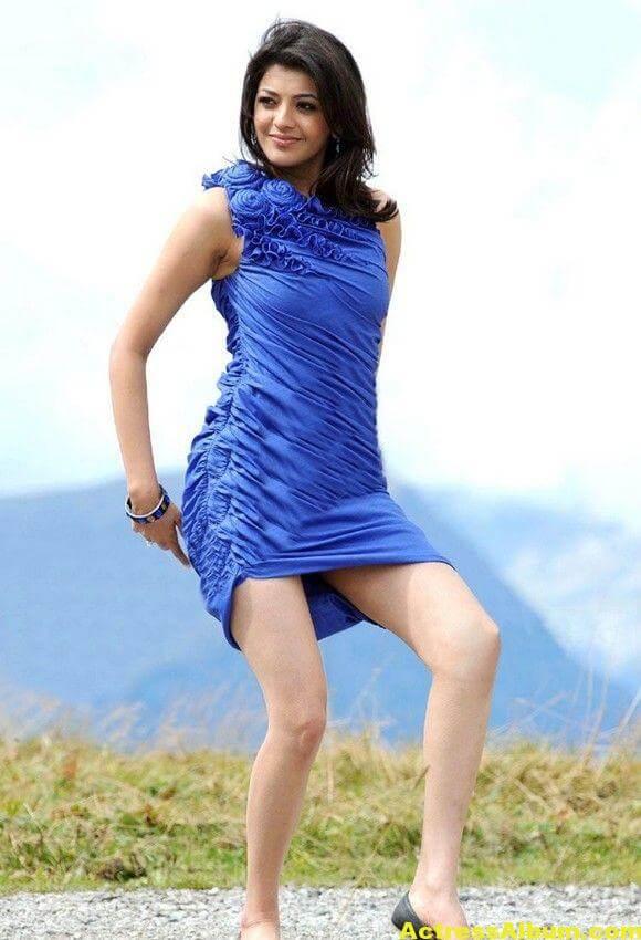 Kajal Agarwal  blue short gown thunder thighs 5