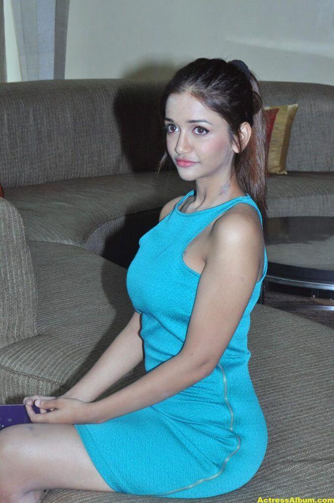 Kollywood Actress Anaika Light Blue Mini Dress Stills...5