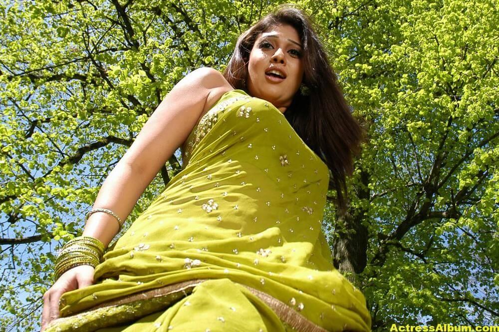 Nayantara Hot Stills in Green Saree | Nayantara wiki