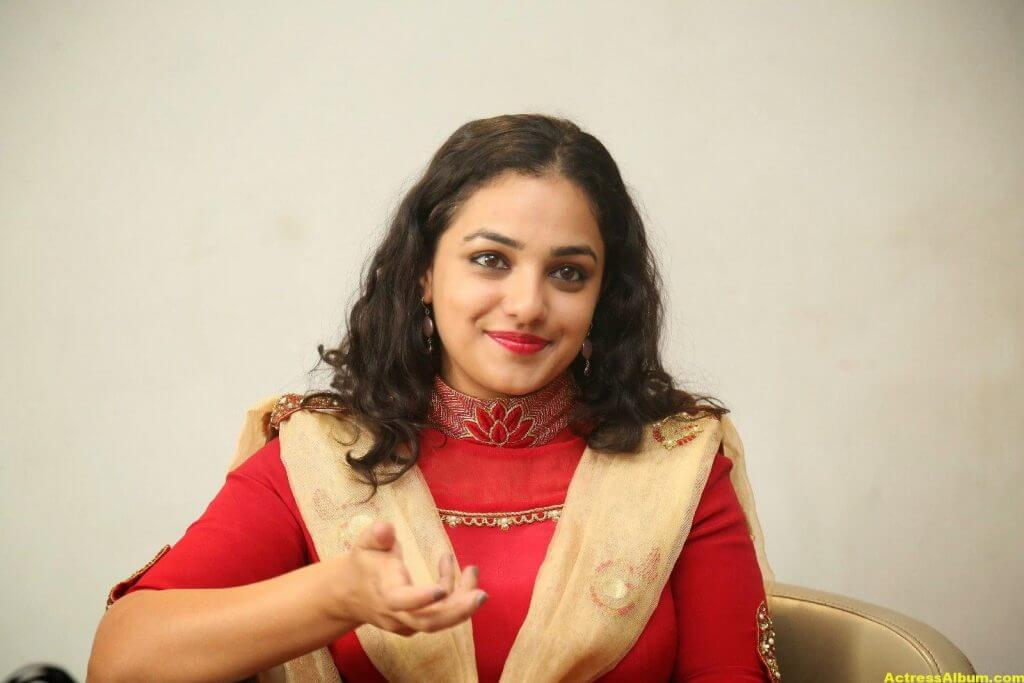 Nithya Menon Latest Stills In Red Dress HQ 10