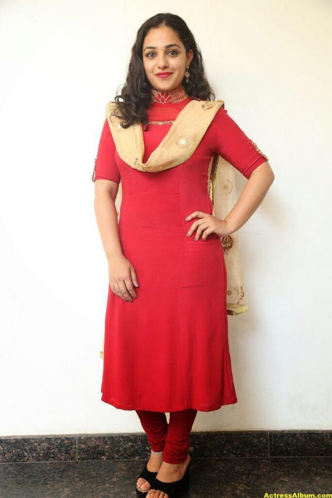 Nithya Menon Latest Stills In Red Dress HQ 3