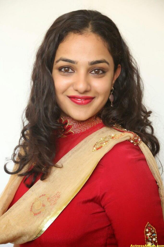 Nithya Menon Latest Stills In Red Dress HQ 4
