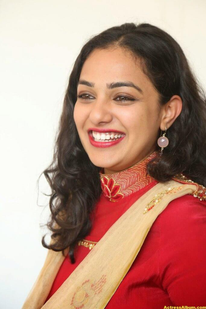 Nithya Menon Latest Stills In Red Dress HQ 6