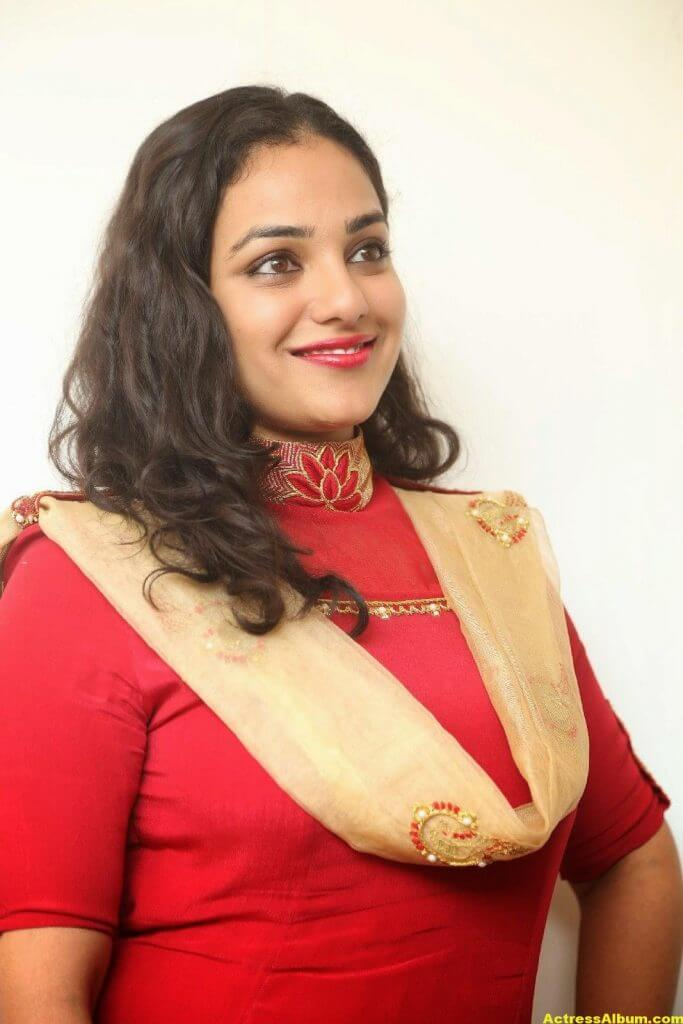 Nithya Menon Latest Stills In Red Dress HQ 8