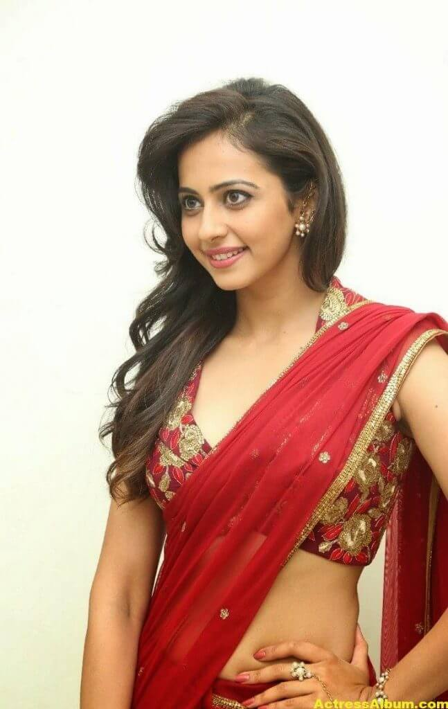 Rakul Preet Singh Latest HD Pics in Red Saree 11