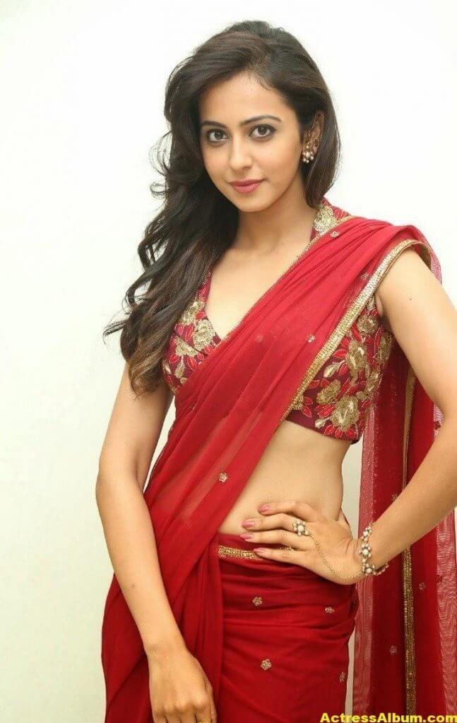 Rakul Preet Singh Latest HD Pics in Red Saree 3