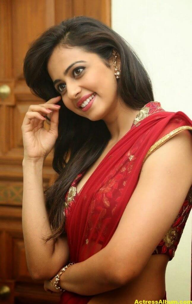 Rakul Preet Singh Latest HD Pics in Red Saree 6
