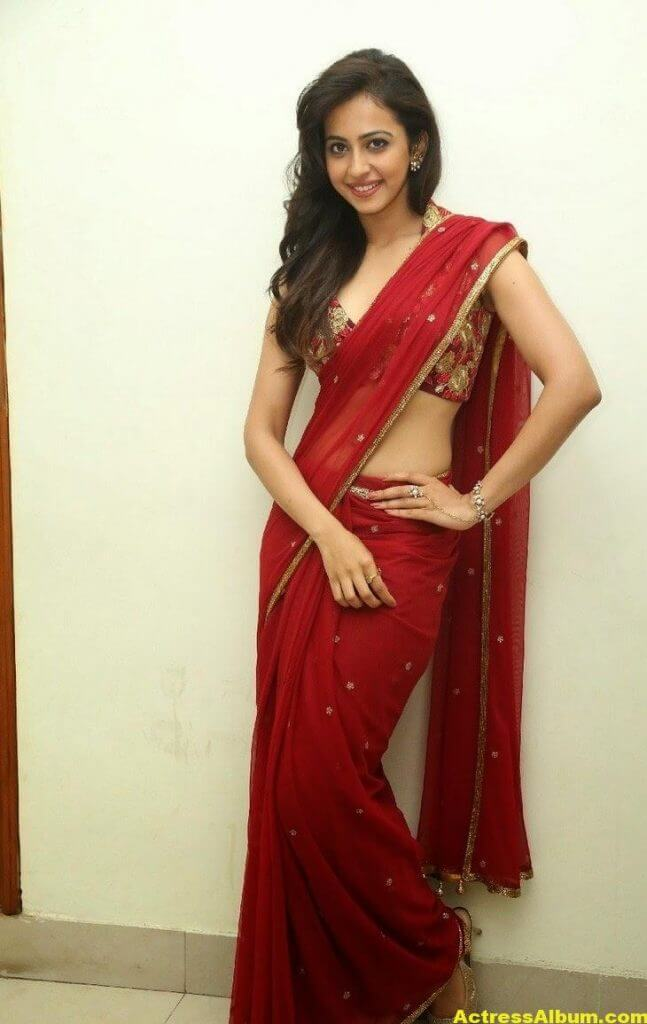 Rakul Preet Singh Latest HD Pics in Red Saree 8