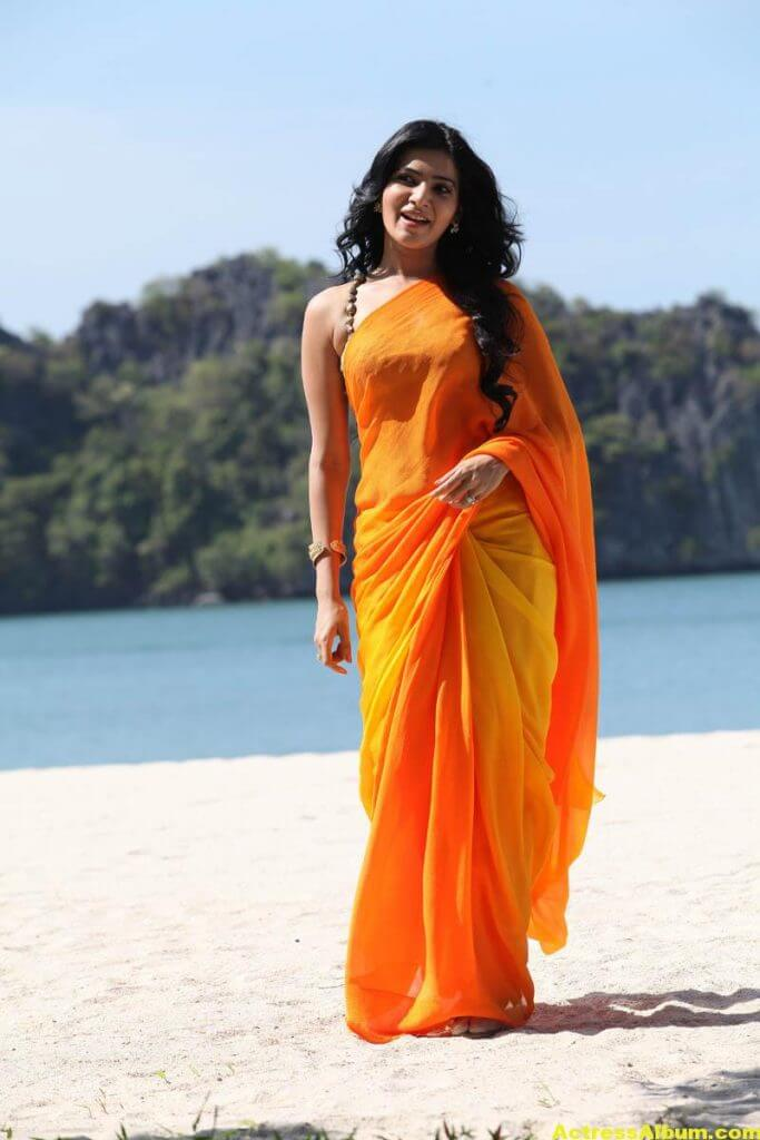 Samantha Spicy In Orange Saree 2