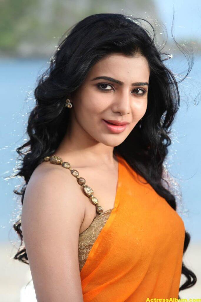 Samantha Spicy In Orange Saree 5