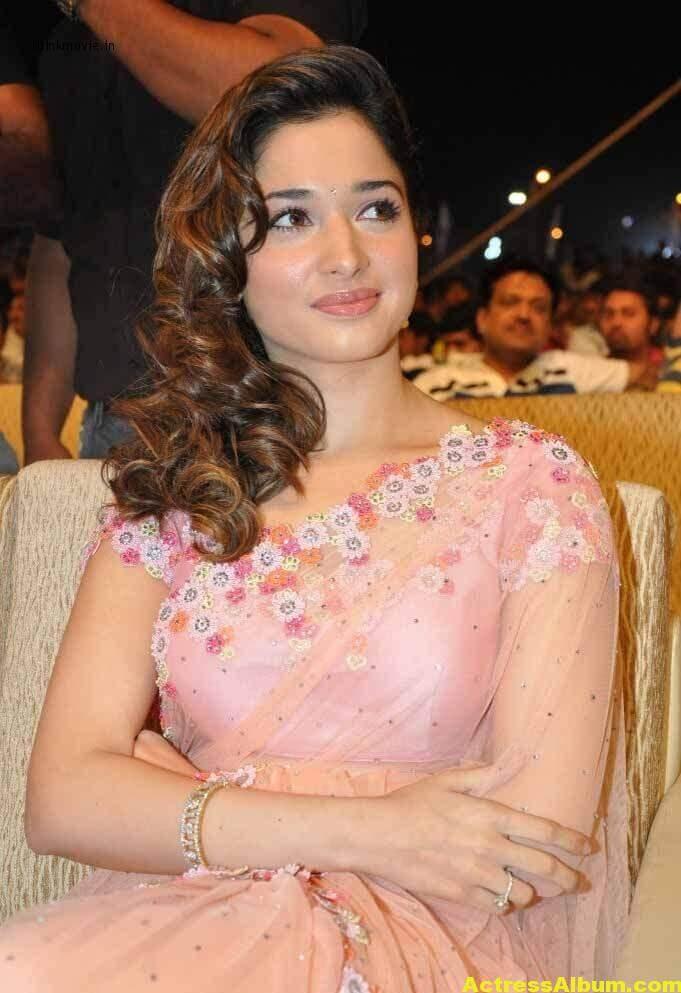 Tamanna Bhatia backless blouse transparent pink saree 1