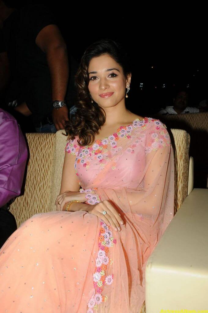 Tamanna Bhatia backless blouse transparent pink saree 2