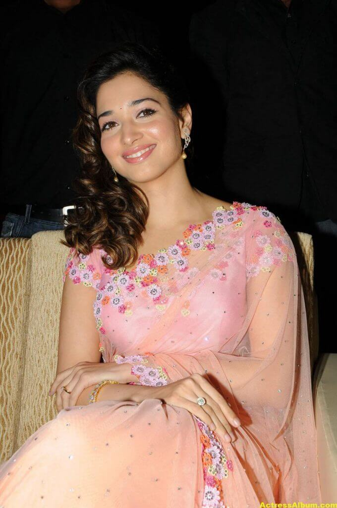 Tamanna Bhatia backless blouse transparent pink saree 3
