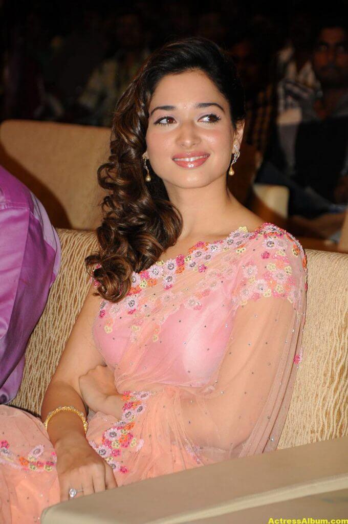 Tamanna Bhatia backless blouse transparent pink saree 4